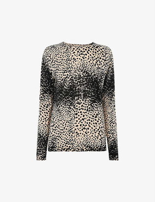 Whistles Animal-print cotton-blend jumper