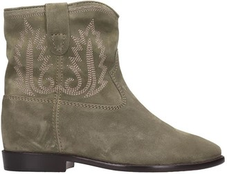 Isabel Marant Crisi Low Heels Ankle Boots In Taupe Suede