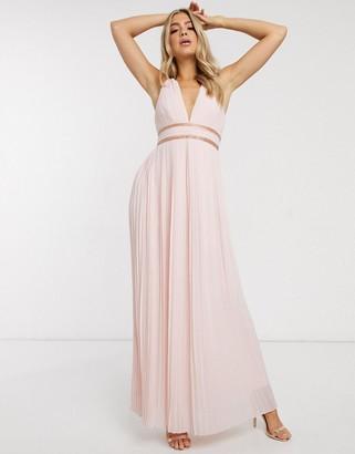 TFNC grecian bridesmaid maxi dress-Pink