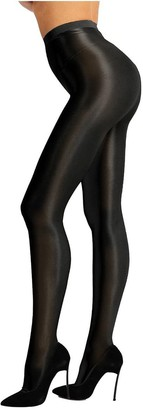 Oyolan Womens Shiny Silk Stockings Tights High Waist Thickness Footed Control Top Pantyhose Leggings Nude M