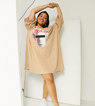 ASOS DESIGN Curve oversized t-shirt dress with graphic face print in camel