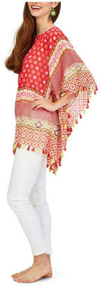 Twos Company Two Company Jaclyn Pixel Pattern Poncho with Hand Stitched Embroidery and Tassels