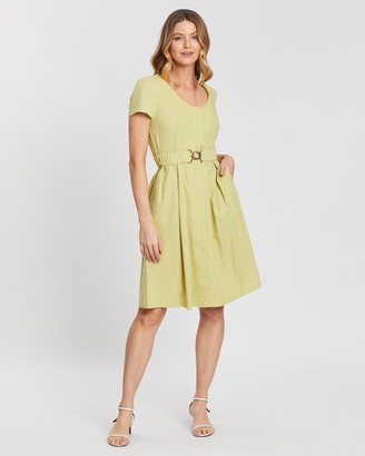 Forcast Piper Belted Linen Dress
