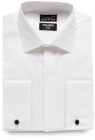 Black Tie White Textured Tailored Fit Shirt