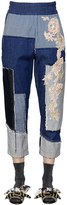 Antonio Marras Embroidered Patchwork Cotton Denim Pants