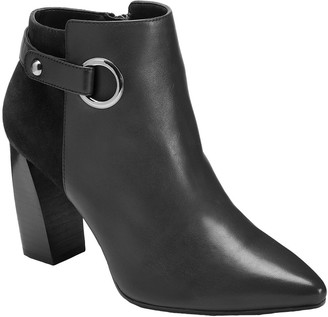 Aerosoles Pointed-Toe Leather Heeled Booties -Final Word