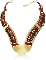 Pluma Brass Woven Leather Necklace in Gold, Burgundy and Brown