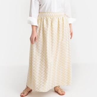 Castaluna Plus Size Jacquard Maxi Skirt
