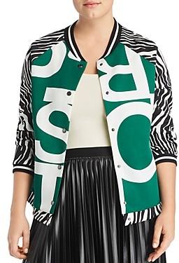 Marina Rinaldi Ocraceo Mixed Print Bomber Jacket