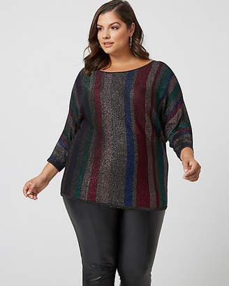 Le Château Metallic Stripe Sleeve Sweater