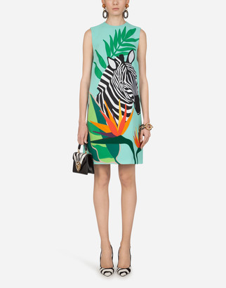 Dolce & Gabbana Short Sleeveless Dress In Cady With Zebra Patch
