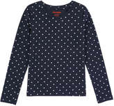 Joe Fresh Kid Girls' Polka Dot Long Sleeve Tee, Navy (Size L)