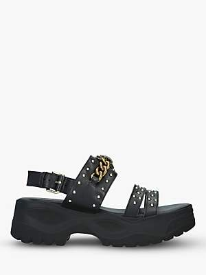 Kurt Geiger London Oden Leather Studded Chunky Sandals, Black