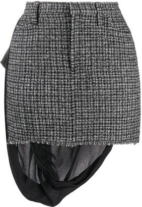 Yohji Yamamoto Pre Owned 1990s Back-Drape Checked Mini Skirt