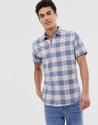 Jack and Jones slim shirt check shirt in linen mix-Pink