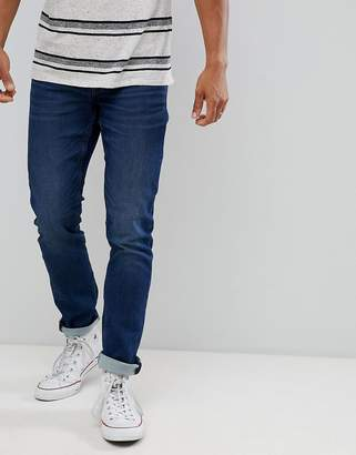 ONLY & SONS slim fit whiskered jeans in mid blue