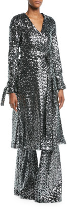 Alexis Niecy Sequin Wrap Long-Sleeve Cocktail Kimono Dress