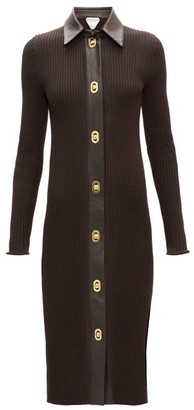 Bottega Veneta Ribbed-knit Wool-blend Shirt Dress - Brown