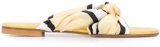 Avec Modération Satin Ribbon Leather Sandals