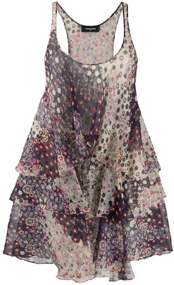 DSQUARED2 floral print tiered short dress