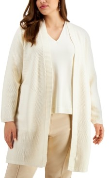 Alfani Plus Size Ribbed-Knit Long Cardigan, Created for Macy's