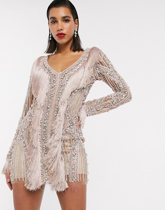 A Star Is Born exclusive embellished mini dress with pearls and fringe detail in taupe