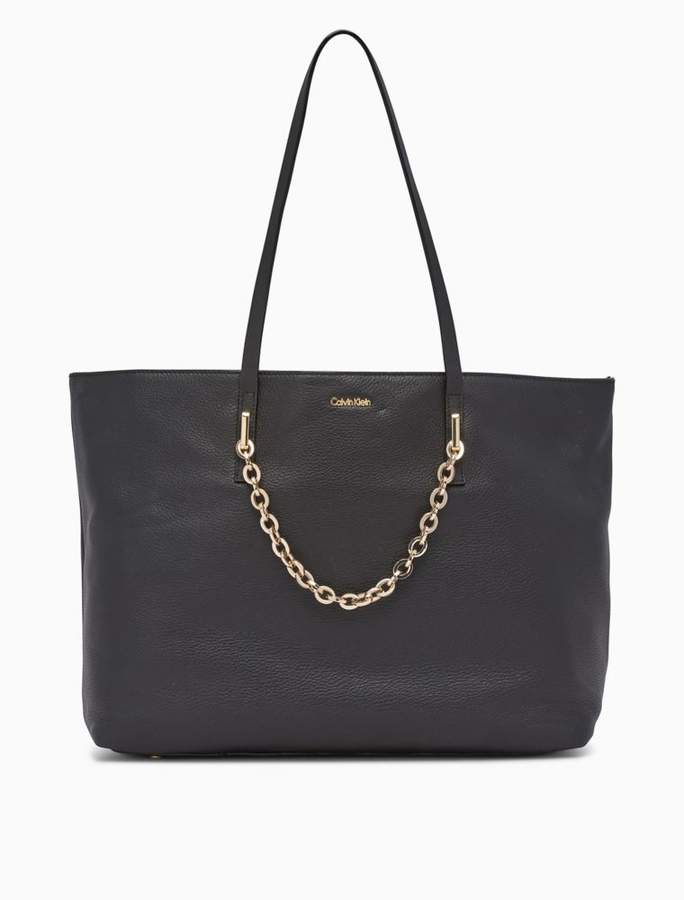 Calvin Klein pebble leather chainlink tote