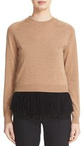 N°21 Women's N?21 Wool Sweater With Detachable Embellished Peplum Tank