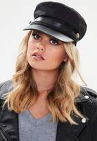 Missguided Black Button Detail Military Baker Boy Hat