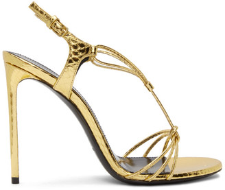 Saint Laurent Gold Snake Robin 105 Heeled Sandals