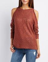 Charlotte Russe Slub Knit Cold Shoulder Sweater