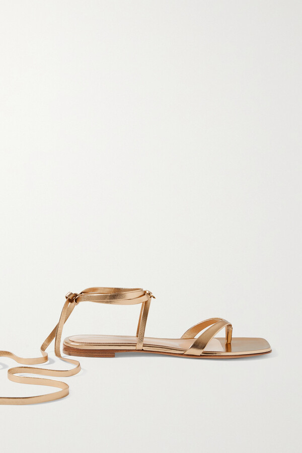 Gianvito Rossi Lace-up Leather Sandals - Gold