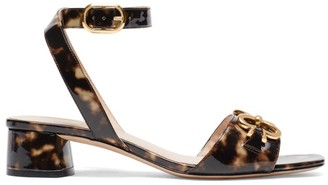 Kate Spade Lagoon Heart Chain Tortoise Patent Leather Sandals