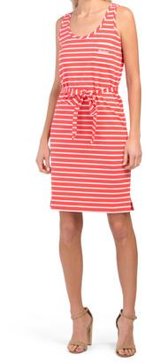 Striped Knit Dress With Waist Tie