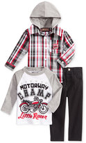 Nannette Baby Boys' 3-Pc. Hooded Shirt, Motorcycle T-Shirt & Pants Set