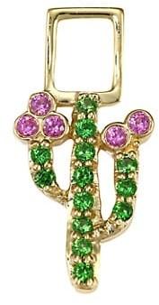 Robinson Pelham EarWish 14K Yellow Gold, Tsavorite & Pink Sapphire Cactus Single Earring Charm