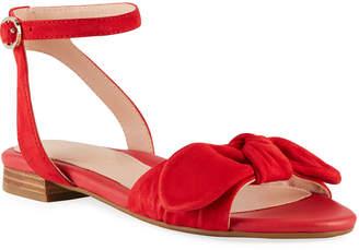 Taryn Rose Velda Ankle-Strap Bow Sandals