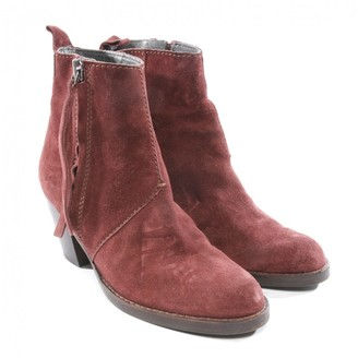 Acne Studios Pistol Red Suede Ankle boots