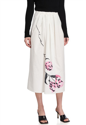 Marni Folk-Style Drawstring Long Skirt
