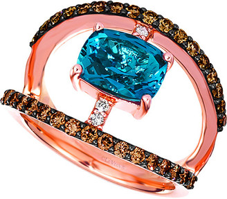 LeVian Le Vian 14K Rose Gold 2.70 Ct. Tw. Diamond & Blue Topaz Ring