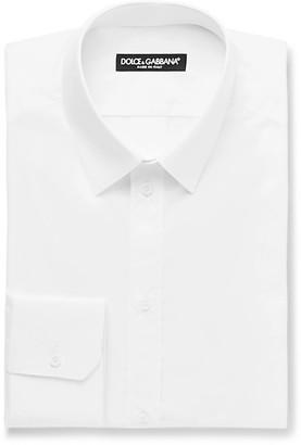 Dolce & Gabbana White Slim-Fit Cotton-Poplin Shirt - Men