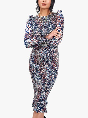 Little Mistress Abstract Print Shirred Bodycon Dress, Navy/Multi