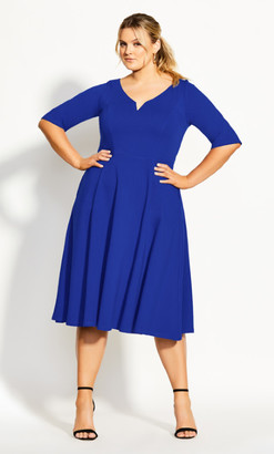 City Chic Cute Girl Elbow Sleeve Dress - cobalt