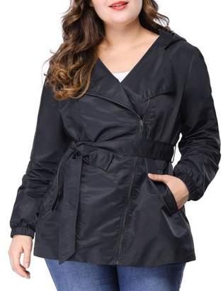 Unique Bargains Women's Plus Size Rain Jacket Zip Closure Hooded Belted Trench Coat