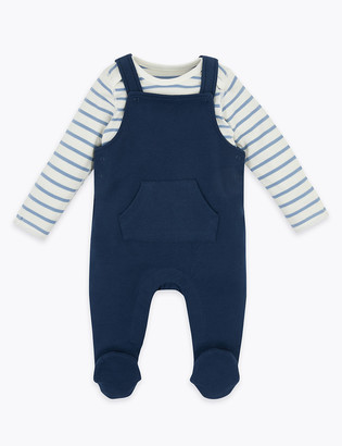 Marks and Spencer 2 Piece Striped Dungarees Outfit (7lbs-12 Mths)