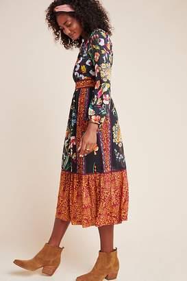 Anthropologie Adair Velvet-Trimmed Midi Dress