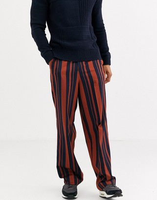 ASOS DESIGN high waisted wide leg smart trousers in navy and orange stripe