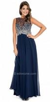 Decode 1.8 Paisley Rhinestone Embellished Illusion Evening Dress