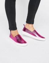 London Rebel London Pink Metallic Rebel Slip on Sneakers