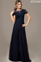 Jovani Attractive Short Sleeves Long Gown in Lace Appliques 98273